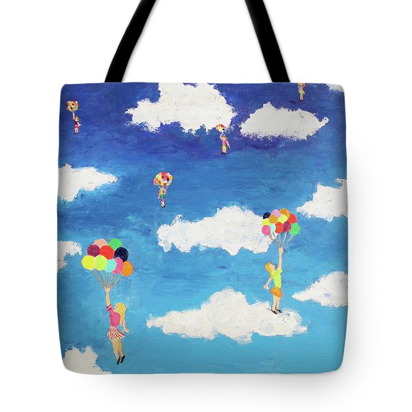 Tote Bag featuring the painting Balloon Girls by Thomas Blood