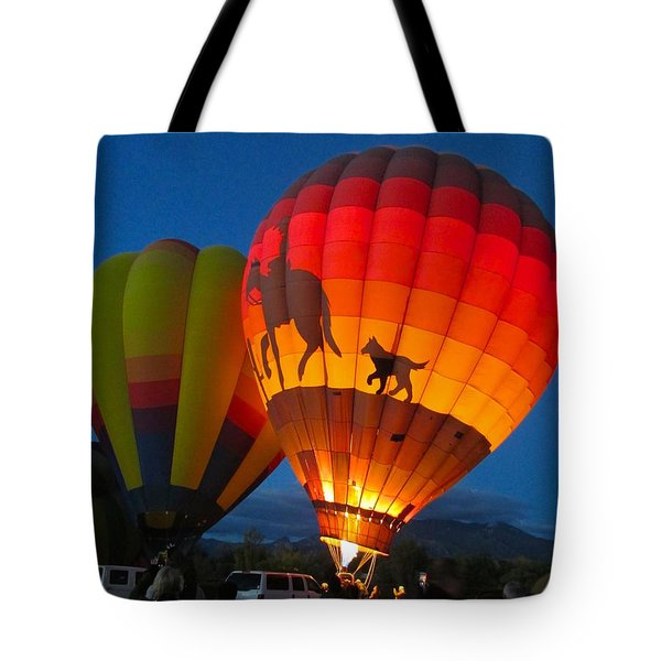 Tote Bag featuring the photograph Balloon Glow by Brenda Pressnall