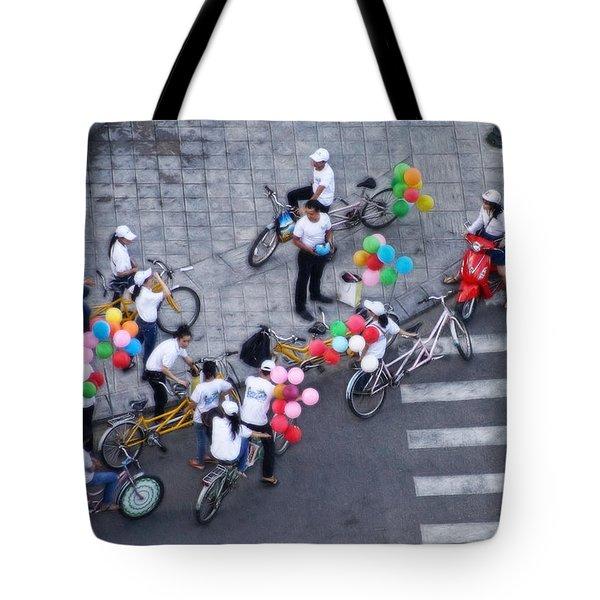 Balloons And Bikes Tote Bag