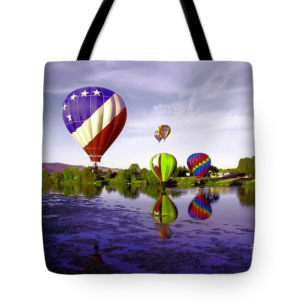 Balloons In The Yakima River Tote Bag