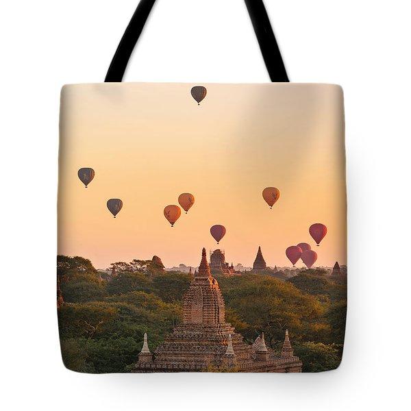 balloons over Bagan - Myanmar Tote Bag