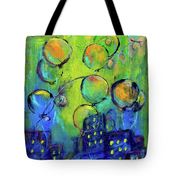 Cheerful Balloons Over City Tote Bag