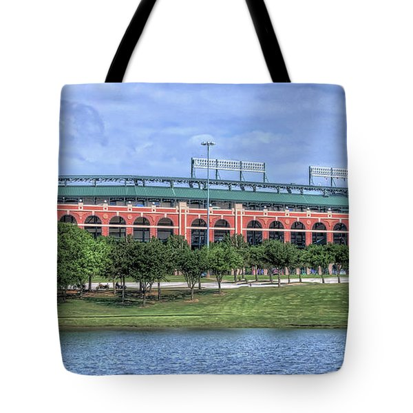 Tote Bag featuring the photograph Ballpark In Arlington Now Globe Life Park by Robert Bellomy