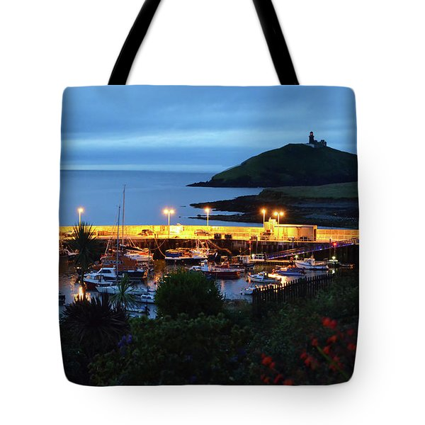 Ballycotton Ireland Marina Harbour And Lighthouse East County Cork Tote Bag