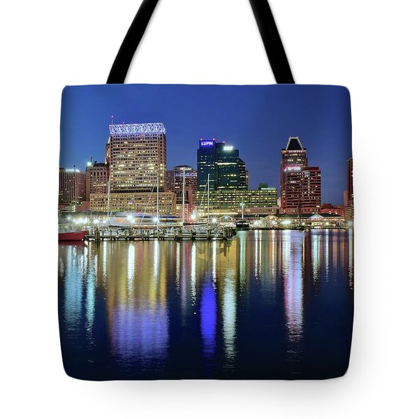 Baltimore Blue Hour Tote Bag by Frozen in Time Fine Art Photography