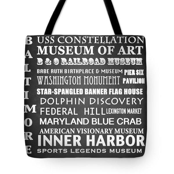Baltimore Famous Landmarks Tote Bag