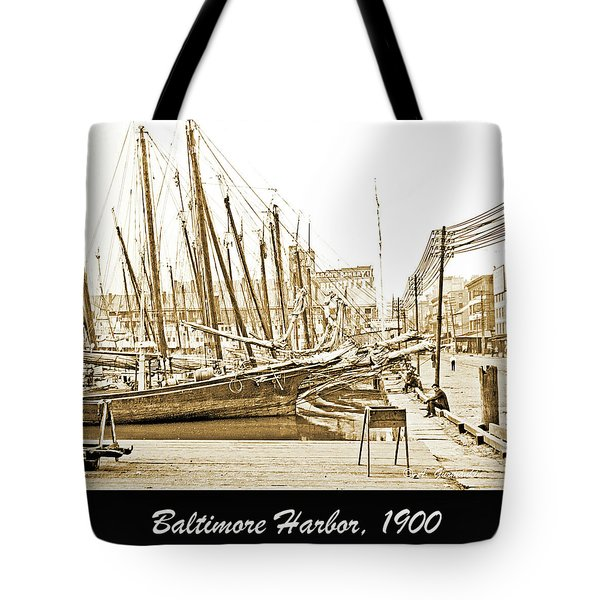 Tote Bag featuring the photograph Baltimore Harbor 1900 Vintage Photograph by A Gurmankin