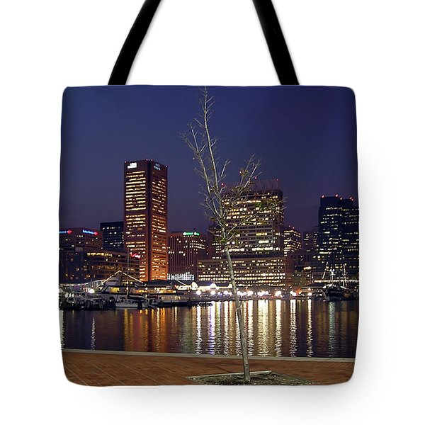 Tote Bag featuring the photograph Baltimore Reflections by Brian Wallace