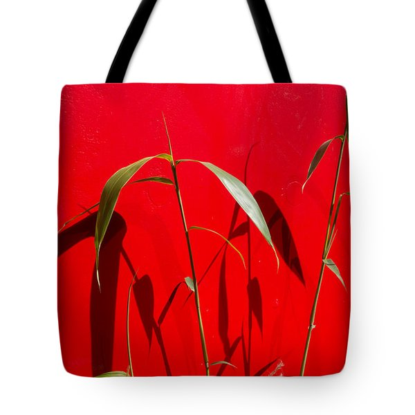Bamboo Against Red Wall Tote Bag