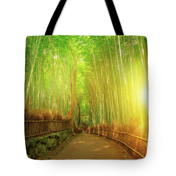 Tote Bag featuring the photograph Bamboo Grove Arashiyama Kyoto by Benny Marty