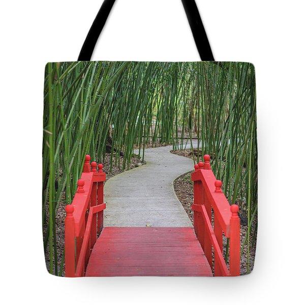 Bamboo Path Through A Red Bridge Tote Bag