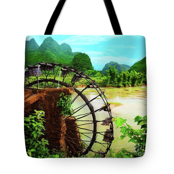 Bamboo Water Wheel Tote Bag by MotHaiBaPhoto Prints