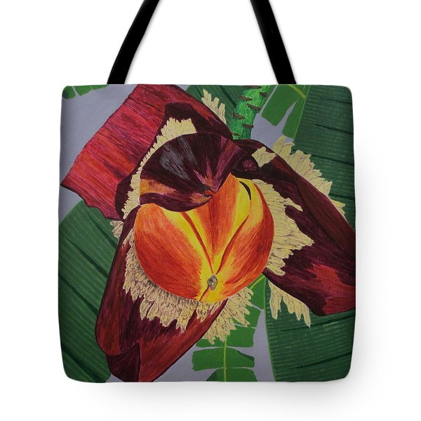 Tote Bag featuring the painting Banana Blossom by Hilda and Jose Garrancho