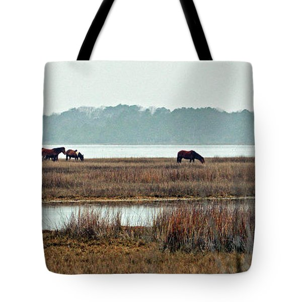 Tote Bag featuring the photograph Band Of Wild Horses Along Sinepuxent Bay by Assateague Pony Photography