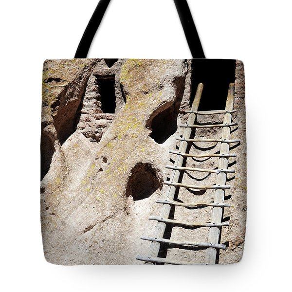 Tote Bag featuring the photograph Bandelier Desert Ladder by Andrea Hazel Ihlefeld