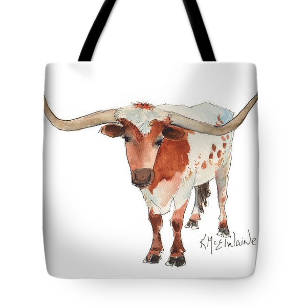 Texas Longhorn Bandero Watercolor Painting By Kmcelwaine Tote Bag