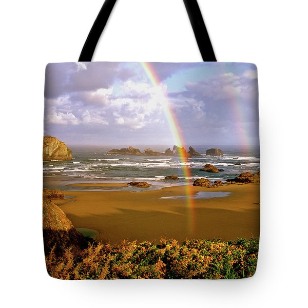 Bandon Beach Rainbow Sunrise Tote Bag