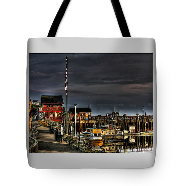 Tote Bag featuring the photograph Bandon Boat Basin At Dawn by Thom Zehrfeld