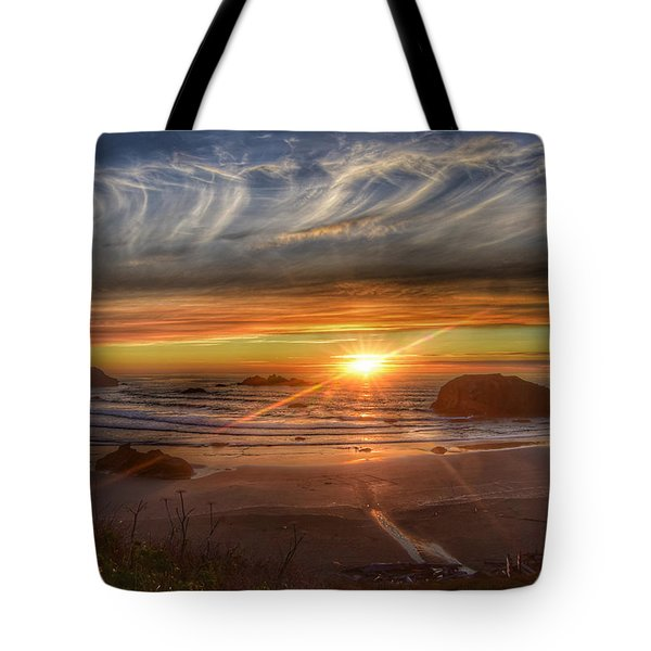 Tote Bag featuring the photograph Bandon Sunset by Bonnie Bruno