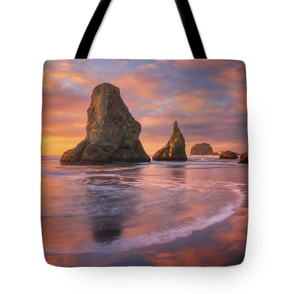 Tote Bag featuring the photograph Bandon's New Years Eve Light Show by Darren White