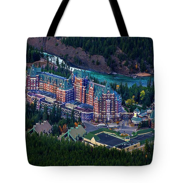 Tote Bag featuring the photograph Banff Springs Hotel by John Poon