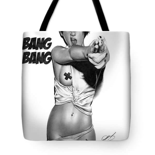 Tote Bag featuring the drawing Bang Bang by Pete Tapang