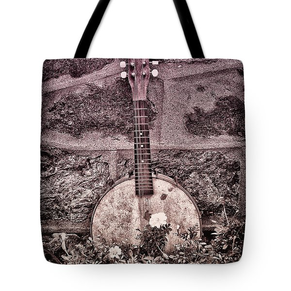 Banjo Mandolin On Garden Wall Tote Bag by Bill Cannon