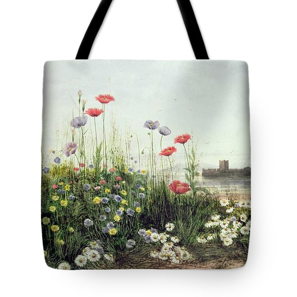 Bank Of Summer Flowers Tote Bag by Andrew Nicholl