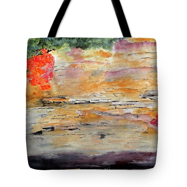 Tote Bag featuring the painting Bank Of The Gauley River by Sandy McIntire