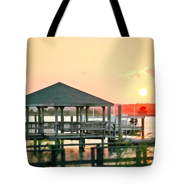 Tote Bag featuring the photograph Banks Channel Sunset by Phil Mancuso