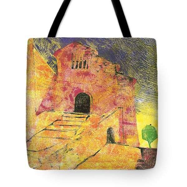 Tote Bag featuring the painting Banon Village In Provence by Martin Stankewitz