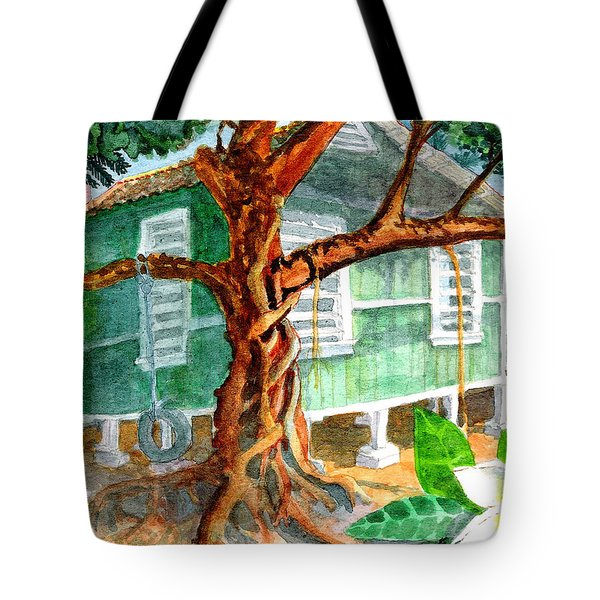 Tote Bag featuring the painting Banyan In The Backyard by Eric Samuelson