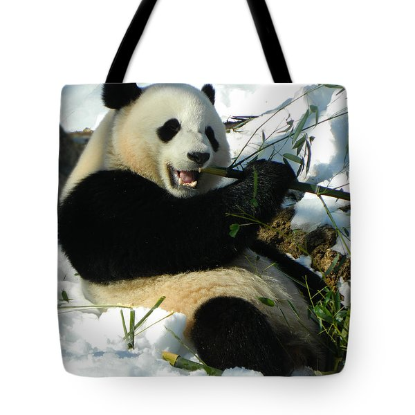 Bao Bao Sittin' In The Snow Taking A Bite Out Of Bamboo2 Tote Bag