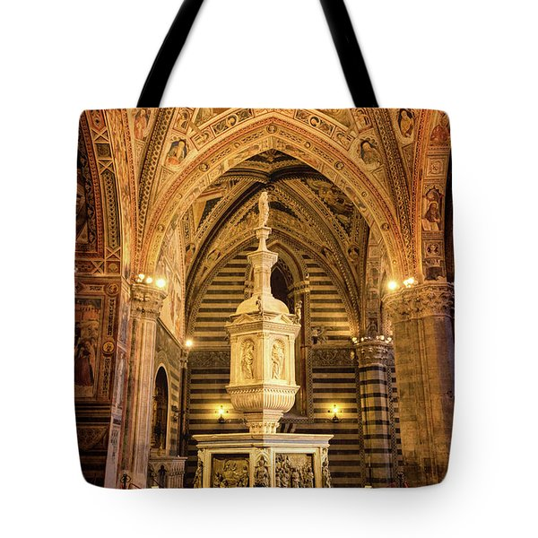 Tote Bag featuring the photograph Baptistery Siena Italy by Joan Carroll