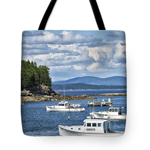 Bar Harbor Lobster Boats - Frenchman Bay Tote Bag by Brendan Reals