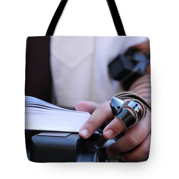Tote Bag featuring the photograph Bar Mitzvah Celebration With Tefillin  by Yoel Koskas