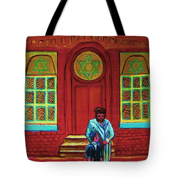 Bar Mitzvah Lesson At The Synagogue Tote Bag by Carole Spandau