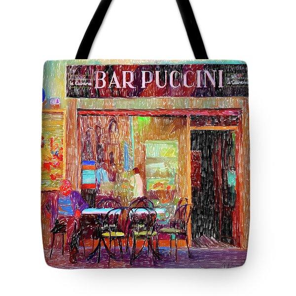 Bar Puccini Lucca Italy Tote Bag by Wally Hampton