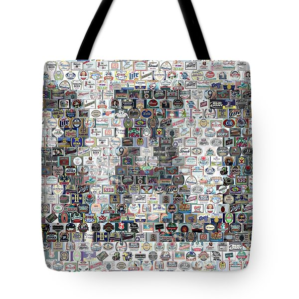Tote Bag featuring the mixed media Bar Sign Beer Label Mosaic by Paul Van Scott