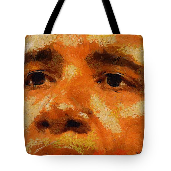 Tote Bag featuring the painting Barack by Kai Saarto