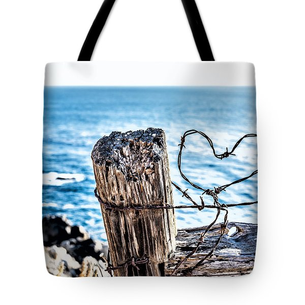 Barb Wire Heart Tote Bag by Joseph S Giacalone