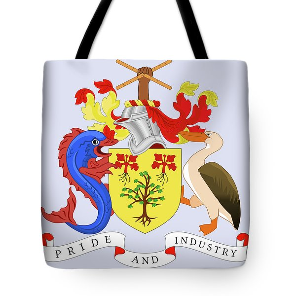 Tote Bag featuring the drawing Barbados Coat Of Arms by Movie Poster Prints
