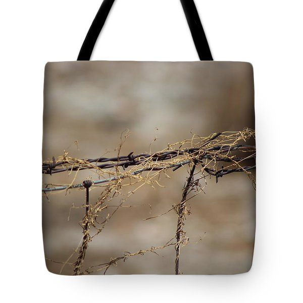 Barbed Wire Entwined With Dried Vine In Autumn Tote Bag