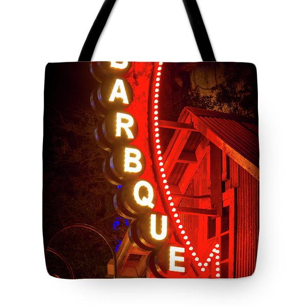Tote Bag featuring the photograph Barbeque Smokehouse by Mark Andrew Thomas