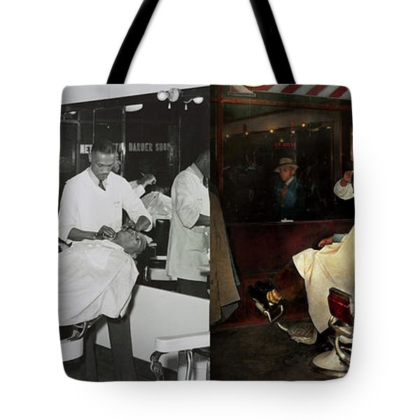 Tote Bag featuring the photograph Barber - A Time Honored Tradition 1941 - Side By Side by Mike Savad