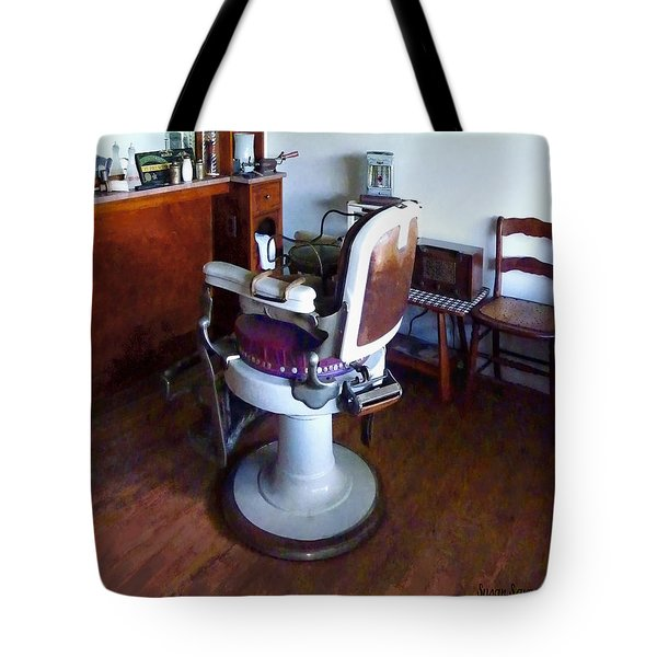 Barber - Old-fashioned Barber Chair Tote Bag by Susan Savad
