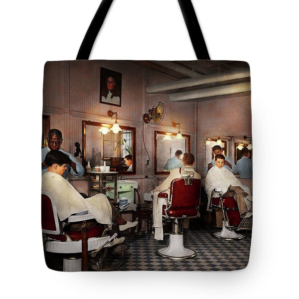 Tote Bag featuring the photograph Barber - Senators-only Barbershop 1937 by Mike Savad