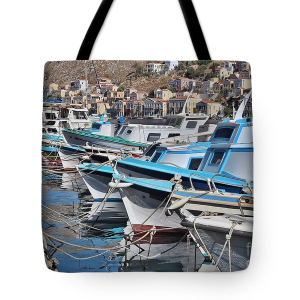 Harbour Of Simi Tote Bag by Wilhelm Hufnagl