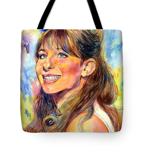 Barbra Streisand Young Portrait Tote Bag
