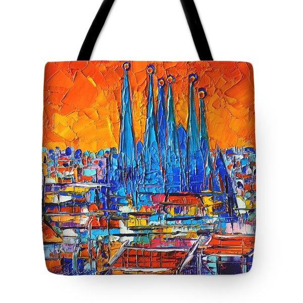 Barcelona Abstract Cityscape 7 - Sagrada Familia Tote Bag by Ana Maria Edulescu